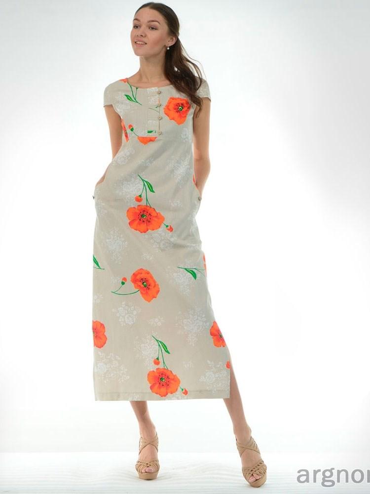 650c69afcc3 Платье льняное с цветами Арт.- ш614-15а