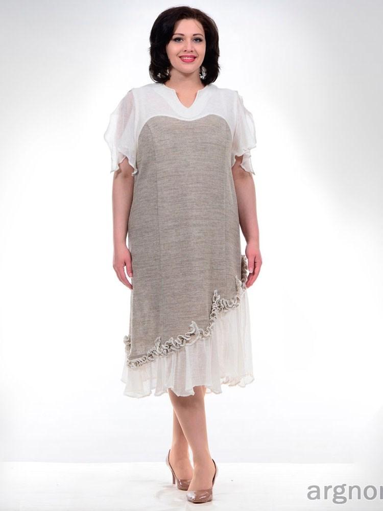 Платье из серого и белого льна Цена - 3 680 руб.  d41421c531615