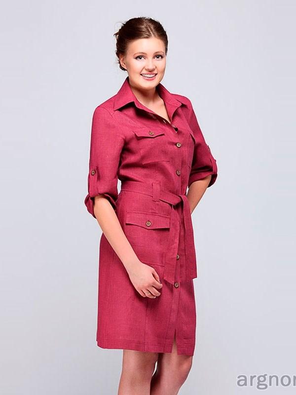 fee6de96c24eb00 Платье-сафари из льна Арт.- М2/23 | Интернет магазин ArgNord.ru