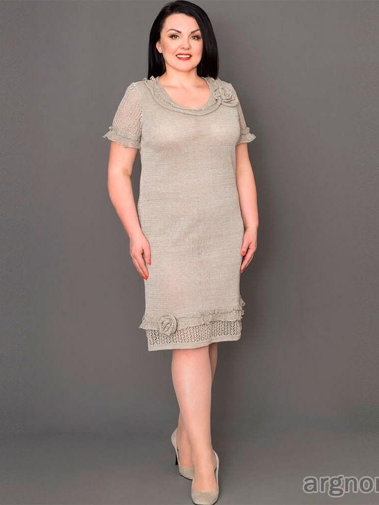 c759b35fd23 Вязаное платье изо льна с рюшами Арт.- 17041