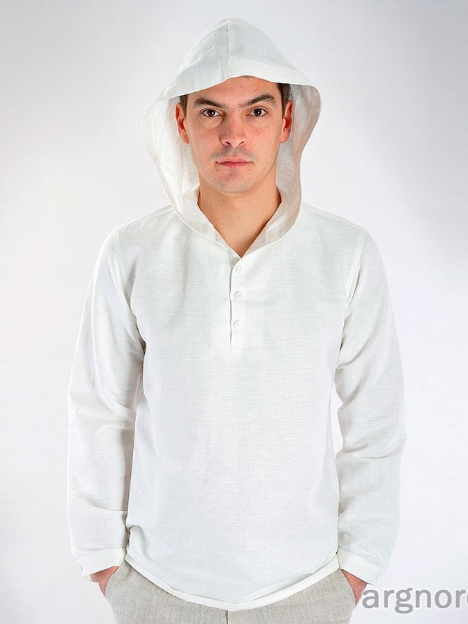 6f09324e9eeed15 Льняная рубашка с капюшоном Арт.- СЛ-17-10 | Интернет магазин ArgNord.ru