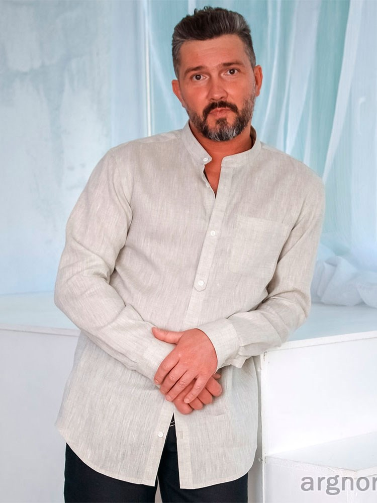 8418e62897a22bd Мужская сорочка из льна с воротником-стойка Арт.- 870 | Интернет ...