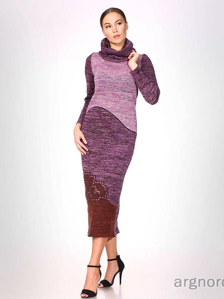 длинное вязаное платье меланж арт 275 17 интернет магазин