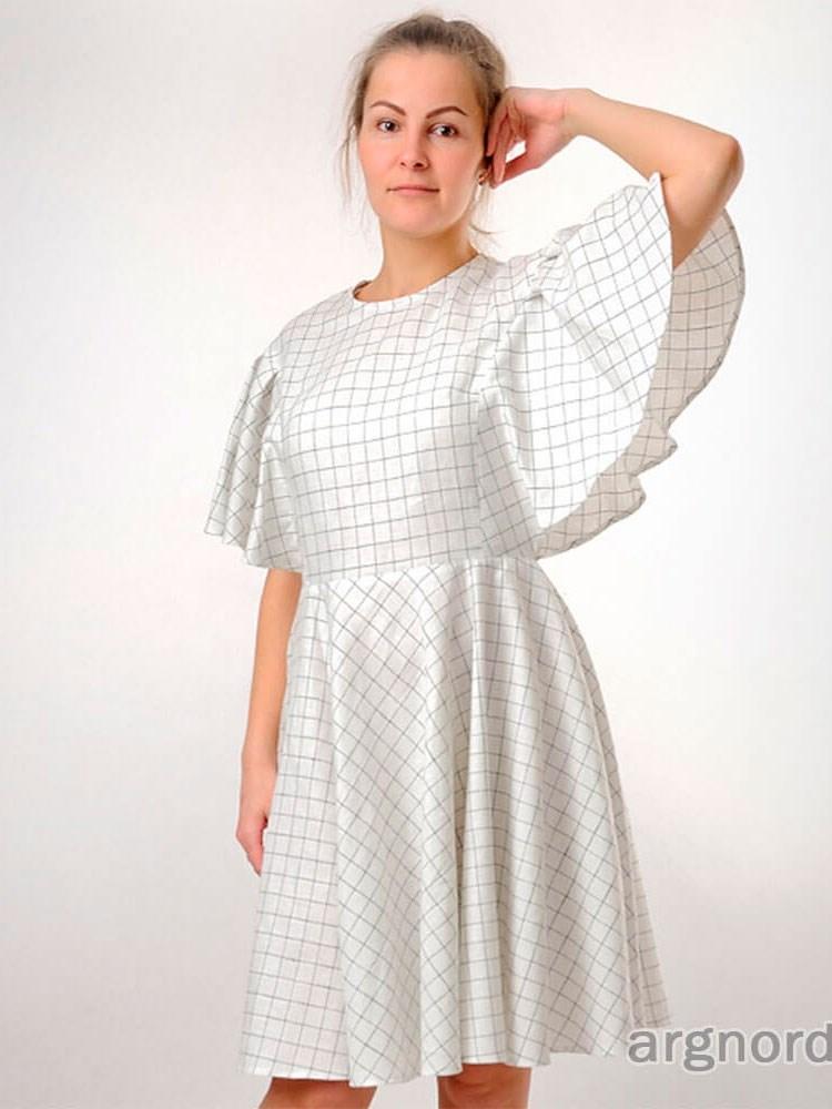 зара льняное платье в клетку