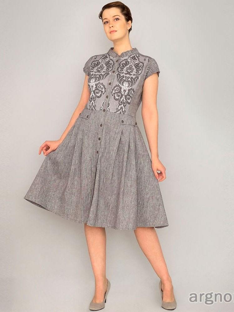 3d0d82aaf72 Льняное платье на пуговках Арт.- 18ф023