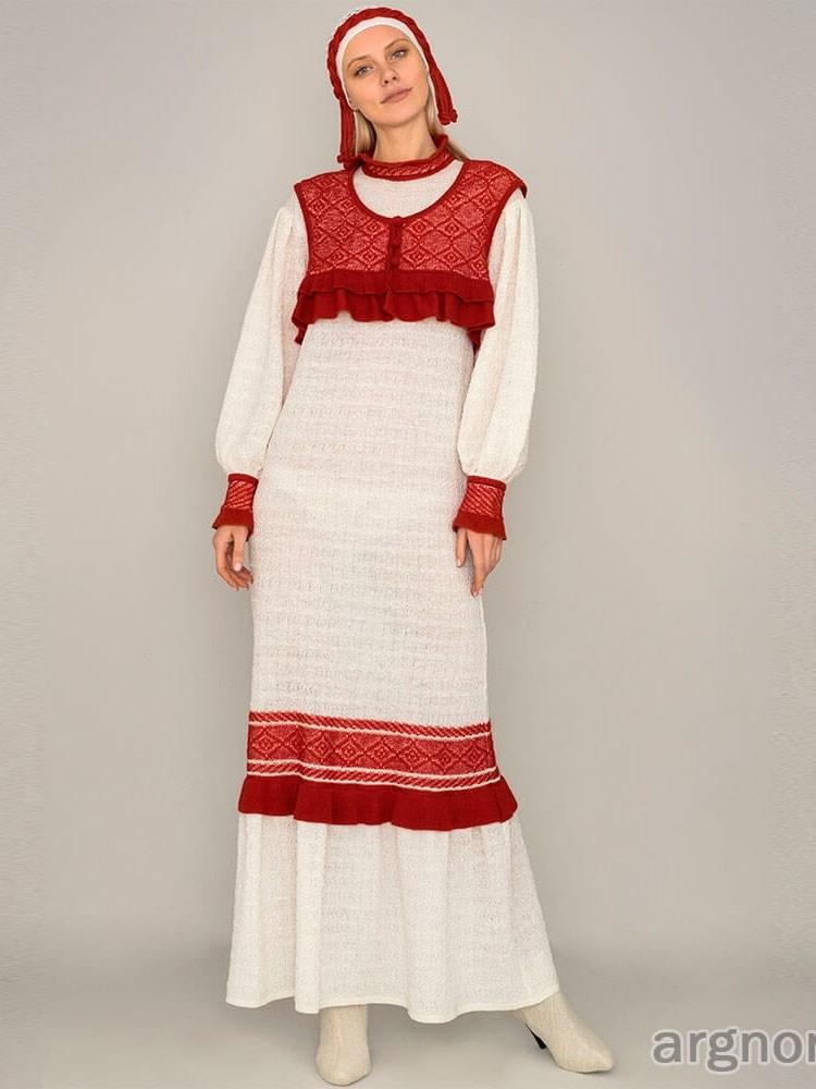 длинное вязаное платье арт 18007 интернет магазин Argnordru