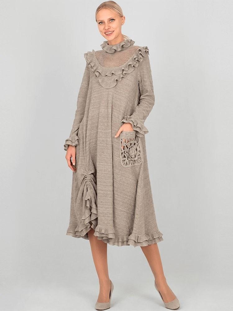 6465a80d586 Вязаное платье с рюшами Арт.- 18049