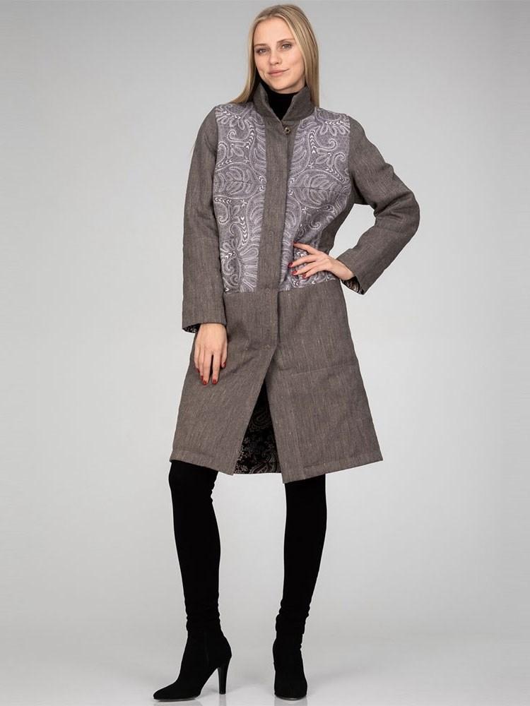 8845adeebe6 Утепленное женское пальто (лен