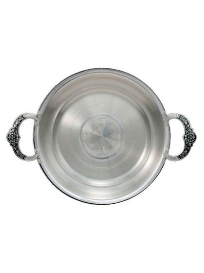 Тарелка-поднос серебряная - фото 19738