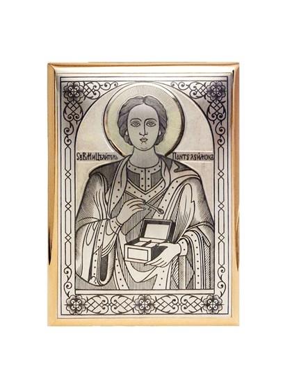 """Икона серебряная """"Целитель Пантелеймон"""" - фото 19888"""