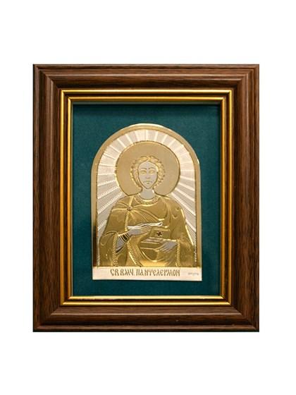 Икона серебряная Целитель Пантелеймон - фото 19933