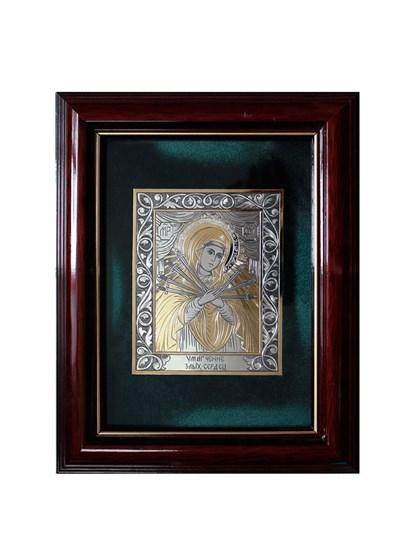 Икона серебряная Пресвятой Богородицы Семистрельная - фото 19983