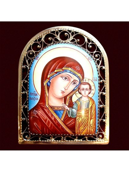 Икона финифть Пресвятая Богородица Казанская - фото 20468