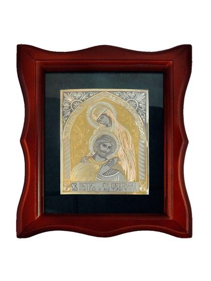 Икона серебряная Святые Петр и Февронья - фото 20682