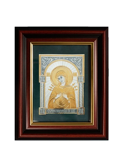 Икона серебряная Пресвятой Богородицы Семистрельная - фото 20731