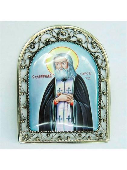 Икона финифть Серафим Саровский - фото 20963
