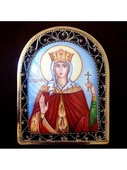Икона финифть Святая мученица Людмила - фото 20964