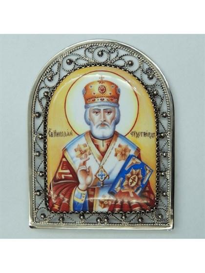 Икона финифть Николай Чудотворец - фото 20966