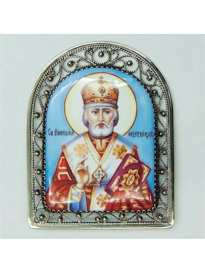Икона финифть Николай Чудотворец - фото 20967