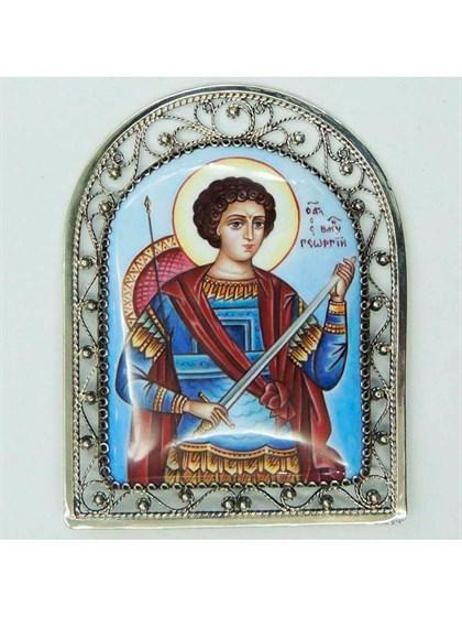 Икона финифть Георгий Победоносец - фото 20969