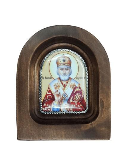 Икона финифть Николай Чудотворец - фото 20971