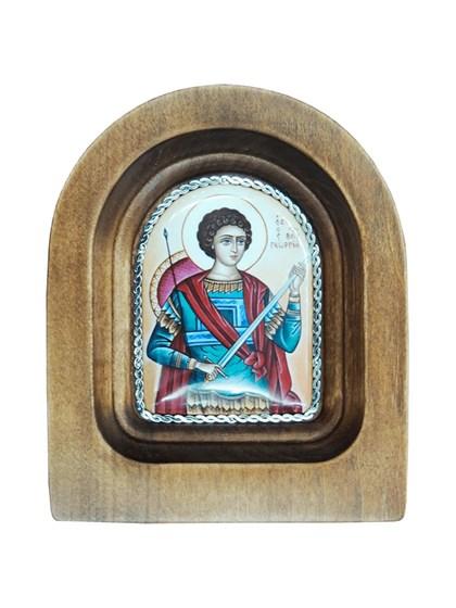 Икона финифть Георгий Победоносец - фото 20973