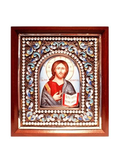 Икона финифть Господь Вседержитель - фото 20983