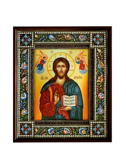 Икона финифть Господь Вседержитель - фото 21236