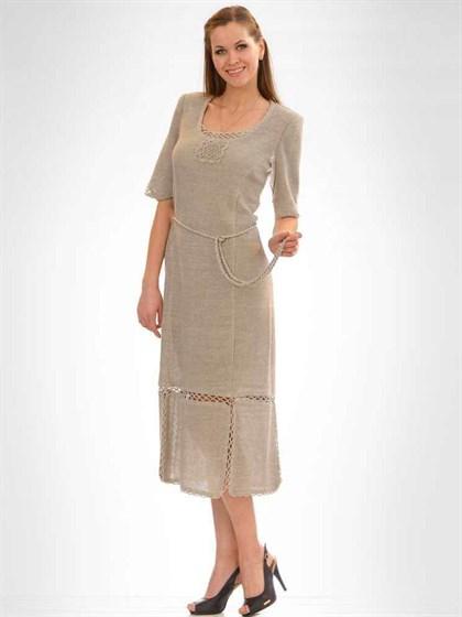 Платье изо льна с поясом - фото 21339