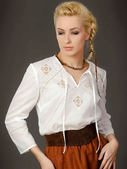 Блуза с кружевным декором - фото 21475