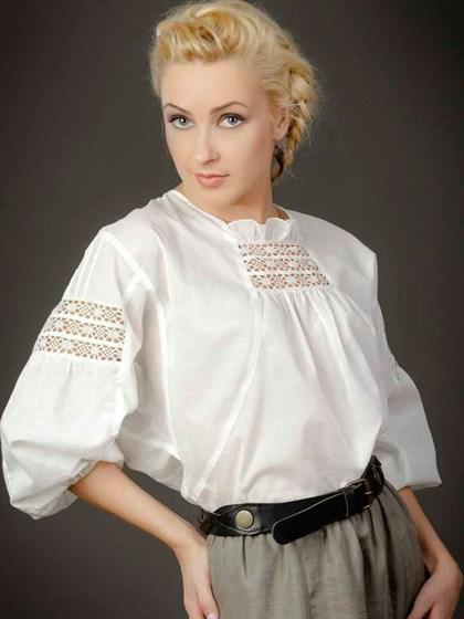 Блуза с наборным кружевом - фото 21477