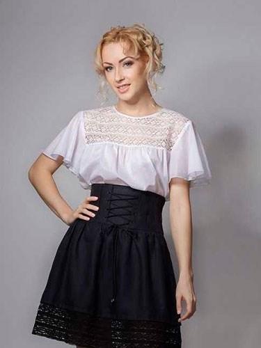 Блуза с кружевом - фото 21923