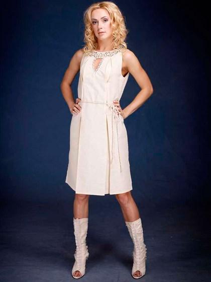 Платье льняное с вышивкой Ришелье и кружевом ручной работы - фото 21943