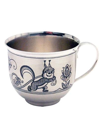 Серебряная детская чашка Белочка - фото 22683