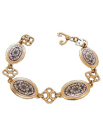 Серебряный браслет в изящном черневом декоре - фото 22826