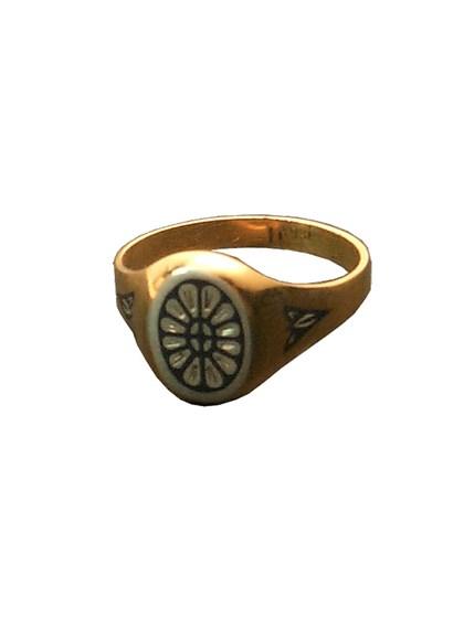Серебряное кольцо с позолотой - фото 23028