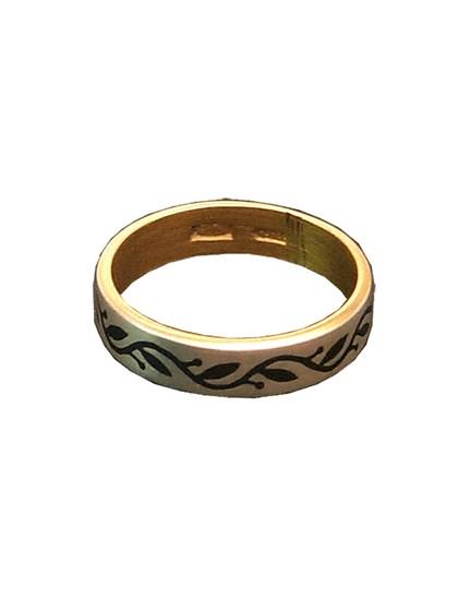 Серебряное кольцо с узором - фото 23031