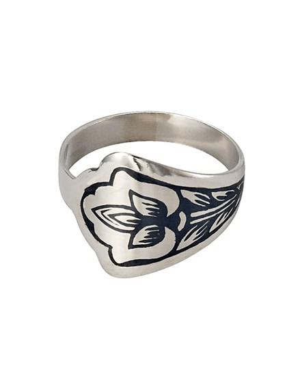 Кольцо из серебра с рисунком - фото 23034