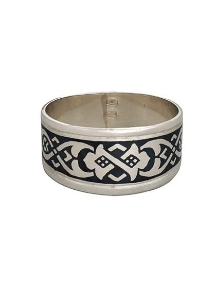 Кольцо серебряное с черневым рисунком - фото 23052
