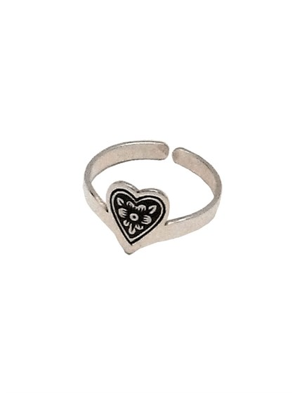 Серебряное кольцо в форме сердца - фото 23069