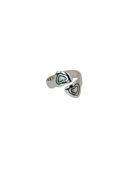 Кольцо серебряное в форме сердца - фото 23075