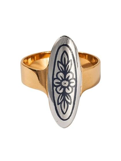 Серебряное кольцо с позолотой - фото 23094