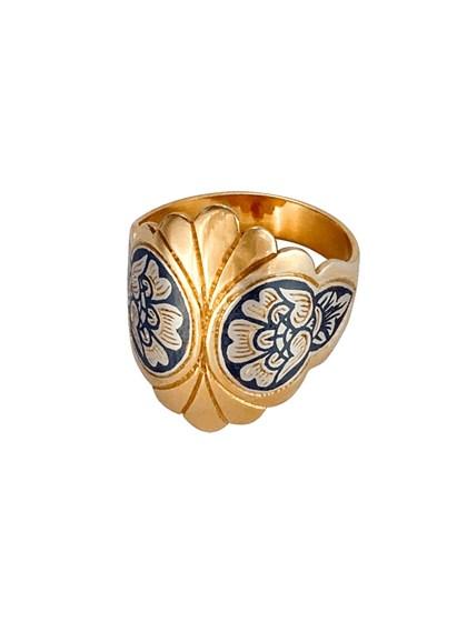 Серебряное кольцо позолоченное - фото 23099