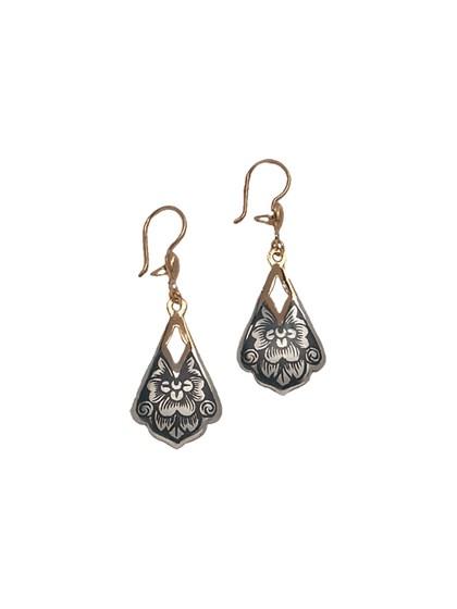 Серьги серебряные с золочением - фото 23217