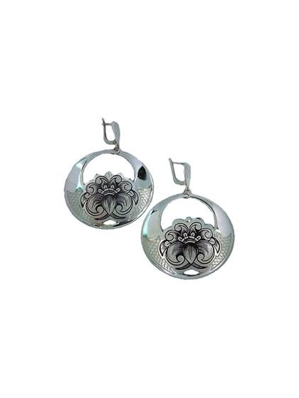 Серьги серебряные с чернью - фото 23220