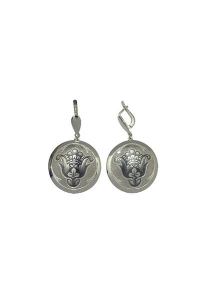 Серебряные серьги круглой формы - фото 23239
