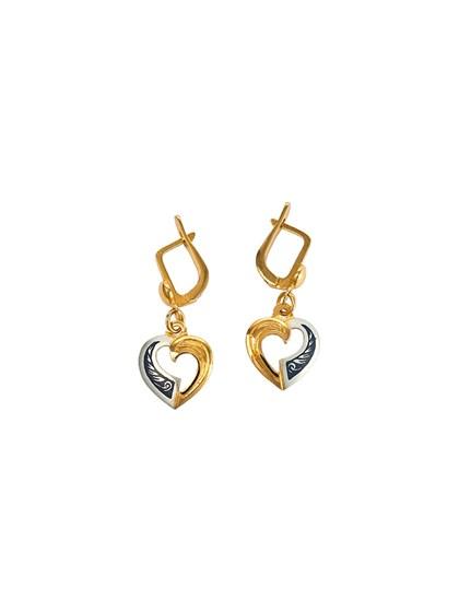 Позолоченные серьги в форме сердца - фото 23254