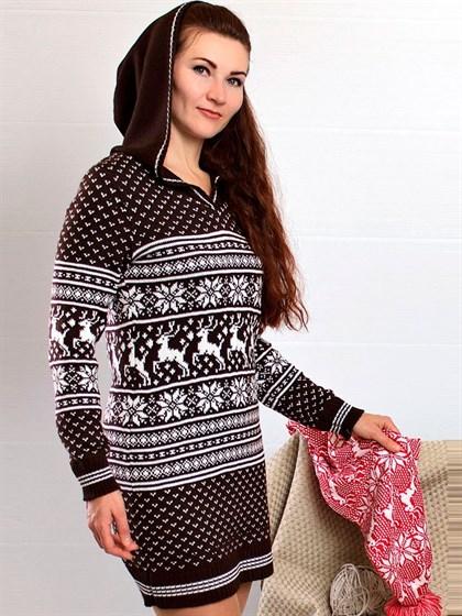 Платье льняное с капюшоном - фото 23835