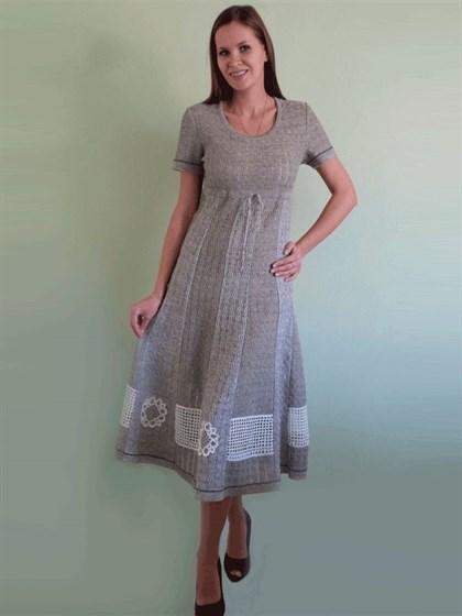 Льняное платье с коротким рукавом - фото 24288