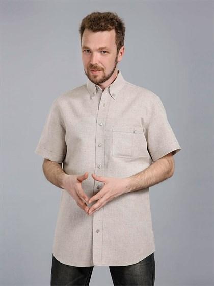 Льняная мужская рубашка с коротким рукавом - фото 24366